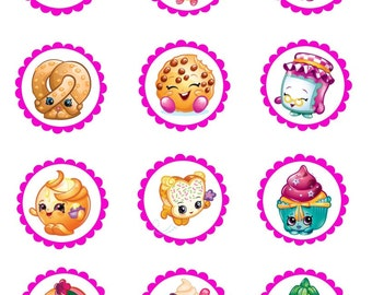 "Shopkins 12-2.5"" Cupcake/Cookie Toppers"