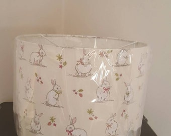 Pink bunny rabbit 30cm drum ceiling shade