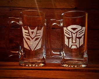 Transformers Autobot Decepticon Glass Mug Set // Gift For Him // Birthday Gift For Him // Transformer // Fathers Day Gift For Him  //