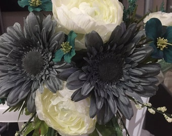 Teal, Pewter Gray & Ivory bridesmaid bouquets. Unique colors for your bridesmaids and wedding!