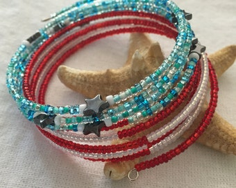 Fourth of July Seed Bead Memory Wire Bracelet