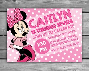 Minnie Mouse Pink Polka Dot Personalised Invite - DIGITAL - Printable - Minnie Mouse Pink Polka Dots Girls Birthday Kids Party Invitation