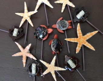 Starfish and Turtle Hair Pins