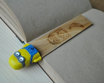 Minions, wooden bookmark, gift for him, gift for her, unique gift, original gift, Minions gift, bookmark gift, handmade bookmark, wooden toy