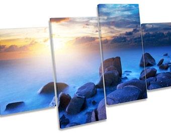 Rocky Sunset Beach Misty Seascape Blue Multi CANVAS WALL ART Box Frame Print Picture