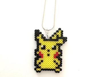 Pokemon Pikachu Perler Bead Necklace - Perler Bead, Pokemon, 8 bit Jewelry, Pikachu, 8 bit, Gamer, Pixel  Jewelry, Retro, Pixel, Pixel Art