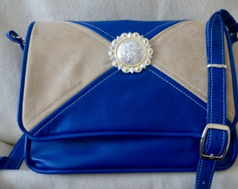 Royal Blue and Tan Leather Handbag