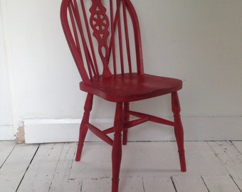 Vintage fiddle back chair in red with an industrial finish