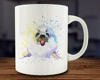 Harp Seal Mug, Watercolor Snow Seal Coffee Mug, Kitchen Art (A263)