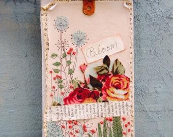 "Original Art Collage Mixed Media Fabric Illustration Vintage Floral ""bloom"""