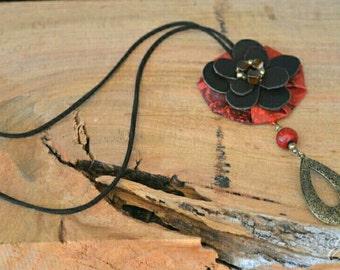 Leather, wood, metal & textile.