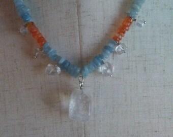 Fire and Ice Necklace, Aquamarine and Cornelian Gemstone
