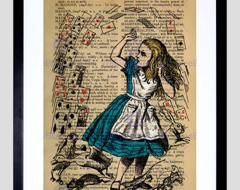 Upcycle Dictionary Alice Wonderland Cards Framed Art Print Poster F12X10548