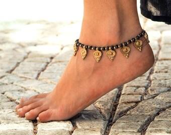 Handmade Anklet // Women Anklet // Women Ankle Bracelet // Black Anklet // Hippie Anklet // Beach Anklet // Oriental Anklets