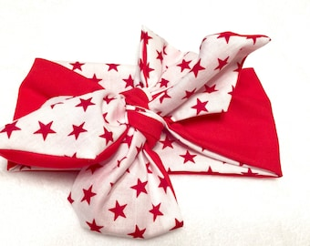 Reversible White & Red Stars head wrap - 1 pc