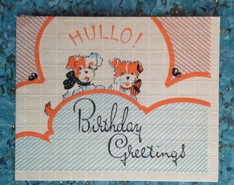 Vintage birthday card dogs puppies very old 1930s?