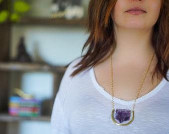 Amethyst Druzy Crescent Necklace