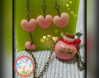 Handmade Love Potion Necklace & Earrings