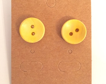 Bright As A Button Earrings - Yellow