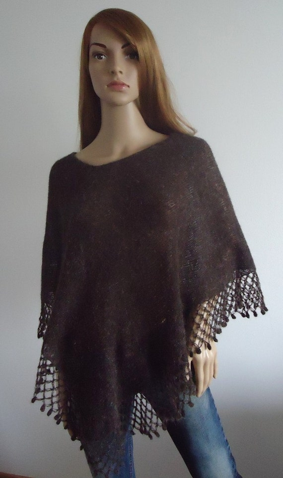 Wool knit poncho, brown poncho, Brown poncho sweater,  Handmade, Hand knitted poncho, Women Poncho, Mohair yarn, Ready to Ship