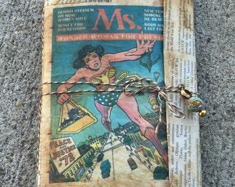 Wonder woman junk journal travelers notebook art journal