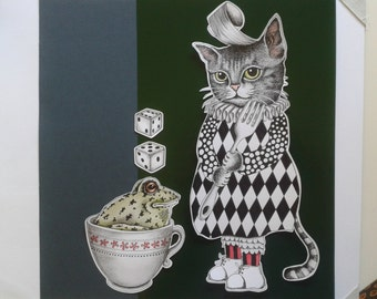 Cat with frog in Cup/cat with frog Cup