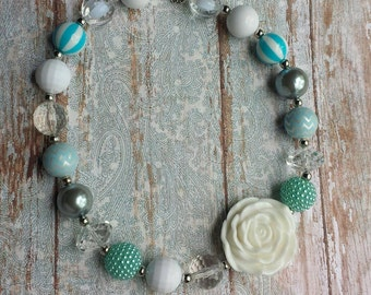 Light Blue and White Bubblegum Necklace Infant/Toddler