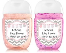 Onesie Baby girl Baby Shower, Personalized Pale Gray and pink -Birthday hand sanitizer label 1oz, Shower party favors, pdf-