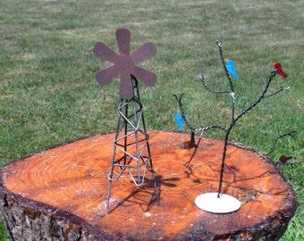 Urban Gardening - Flat Metal - Windmill - Tree with Birds - assorted styles - 1 pkg