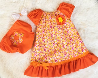 infant girls Orange Summer Dress