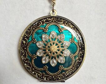 Turquoise Brass photo locket, resin filigree photo locket, anniversary present, push present, birthday present, mother's day present