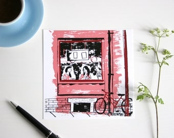 Illustrated Postcard coffee shop, greeting card, trink coffee and talk, people, black, red
