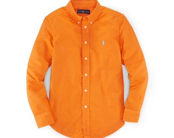 Ralph Lauren Signal Orange Long Sleeved Light Pique Shirt Size M Vintage Gift For Him