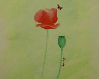 Charming ladybug on a Poppy (original painting)