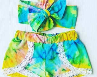 LIMITED Tie Dye Coachella Shorts and Headwrap Set