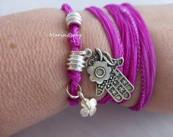 Wrap bracelet, silk wrap bracelet, bracelet, Hamsa, hand, hand of Fatima, clover, silver plated beads, boho, yoga, chain, belt,.