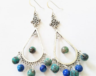 Turquoise earrings, Turquoise Chandeliers, Lapis Earrings, Turquoise and Lapis Lazuil Chandelier Earrings with Sterling Silver French Hooks