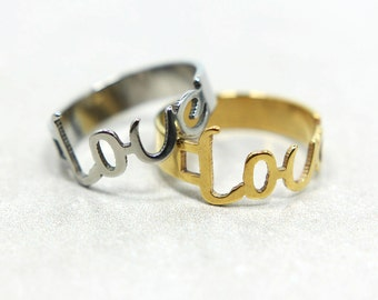 Love Word Stainless Steel Ring in Gold and Silver