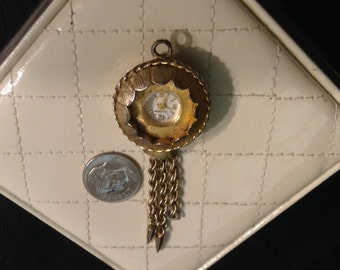 Watch Pendant Vantage Gold Tone Vintage 1960s Watch Necklace