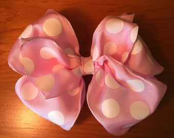 Large Pink polka-dotted pinwheel hair bow for babies, girls-Hair accessories, french barrette clip hair bow pink