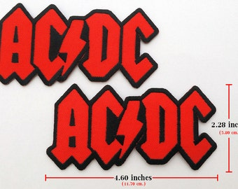 2 pcs. ACDC Rock Music Band Embroidered Iron on Patches.