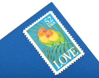 25 Fischer's Lovebirds Postage Stamps - 52c - Vintage 1991 - Unused - LOVE stamps - Quantity of 25