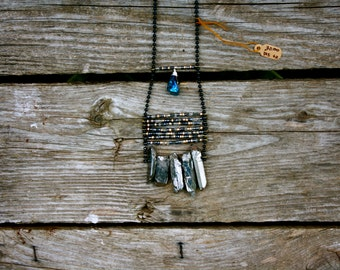 native american inspired necklace with silver crystals