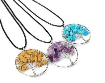 Tree of life natural stone chord necklace