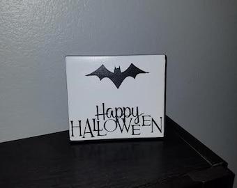 Happy Halloween Wood Sign, Bat Sign, Halloween Sign, Halloween, Bat