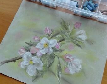 Flowering tree. Pastel on paper