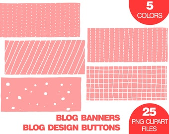 Banner Clip Art, Blog Design, Blog Design Buttons, Social Media Banner Clip Art