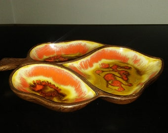 Vintage Treasure Craft 3 Section Dish Orange and Yellow Leaf