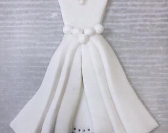 Fondant Wedding Dress Bridal Shower Cake Topper