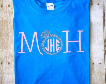 Maid/Matron of Honor Glitter Bling Ring Monogram Shirt